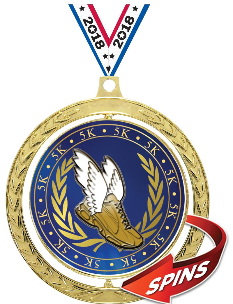 "2.5""SPIN GD MEDAL WREATH INS/R"