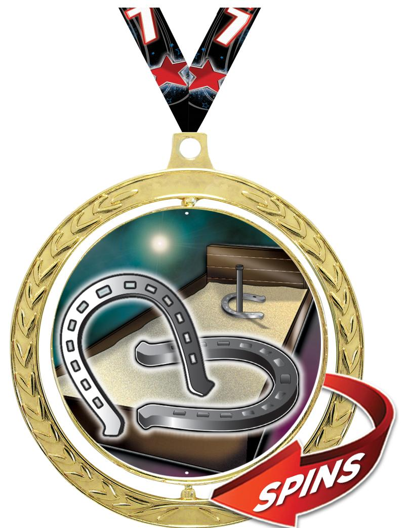"""2.5""""SPIN GD MEDAL WREATH INS/R"""