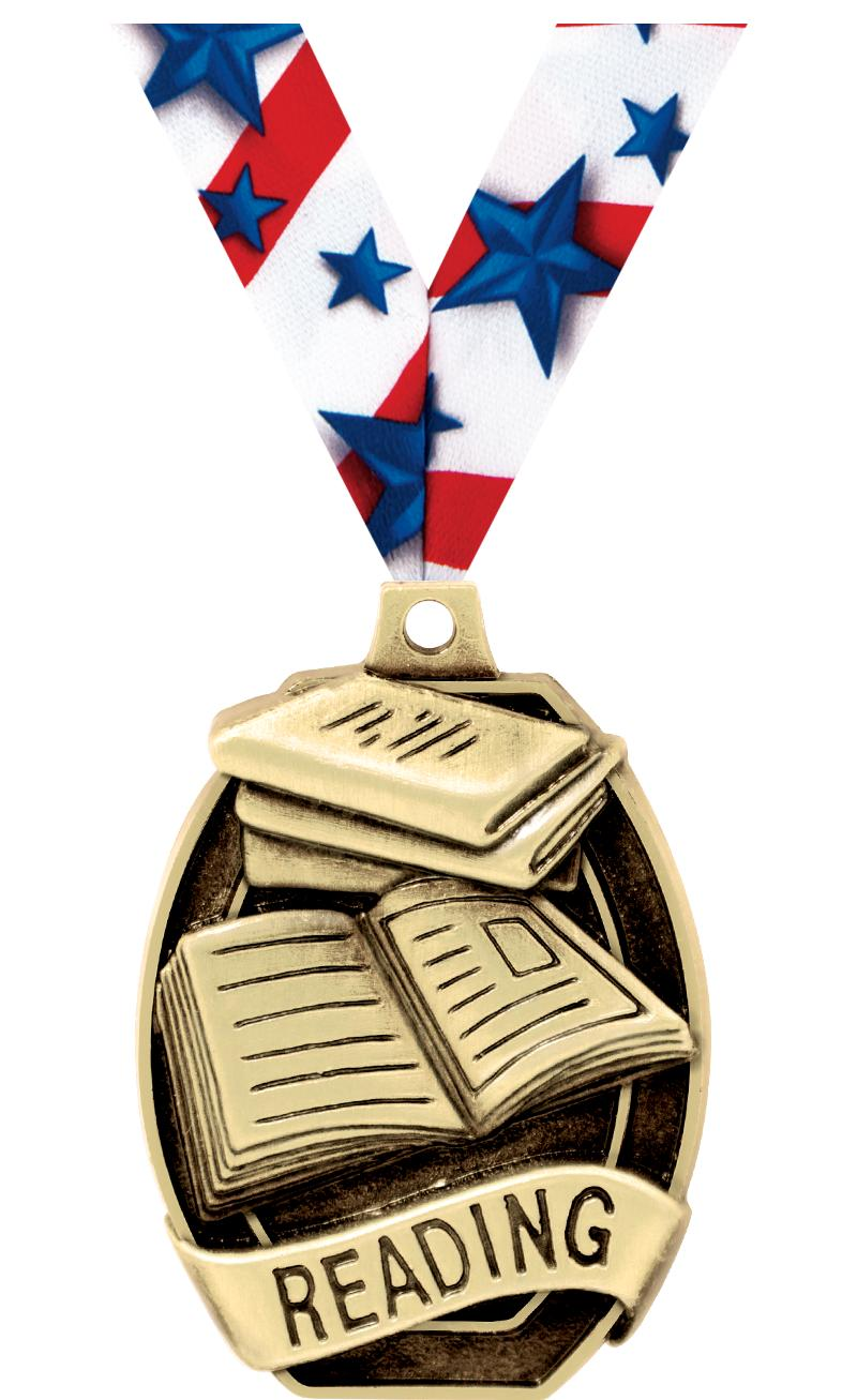 "2"" SCHOLASTIC-READING MEDAL"
