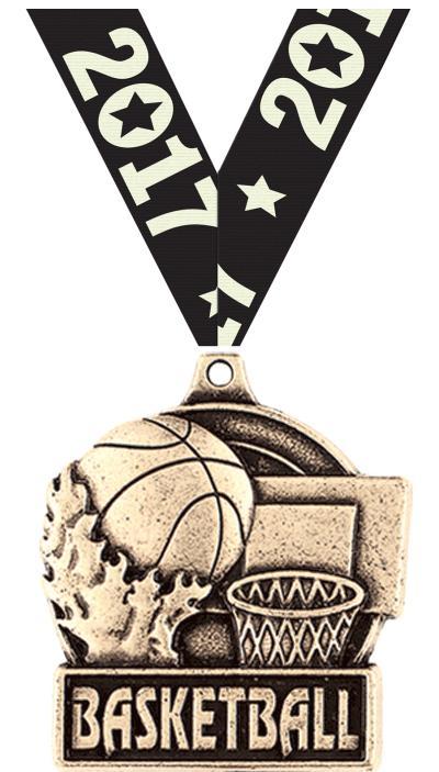 "1 3/4"" Basketball Medals"