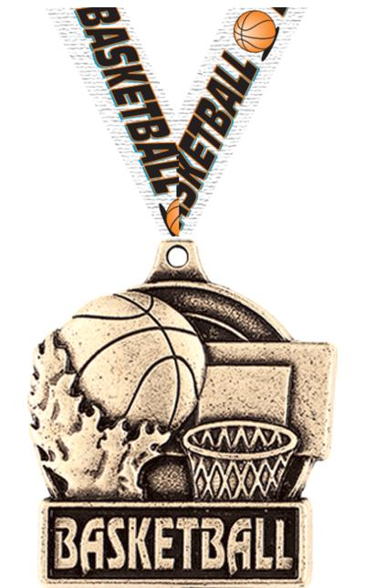 "1 3/4"" BASKETBALL MEDAL GOLD"