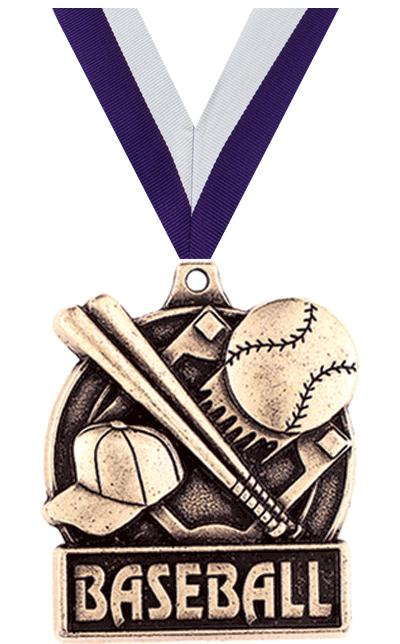 "1 3/4"" BASEBALL MEDAL GOLD"