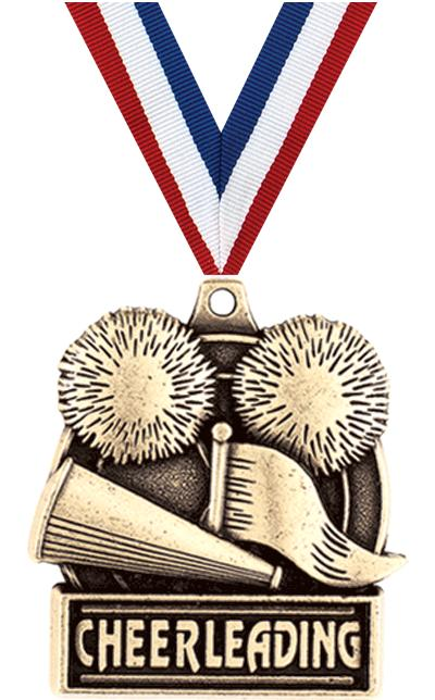 "1 3/4"" CHEERLEADER MEDAL GOLD"