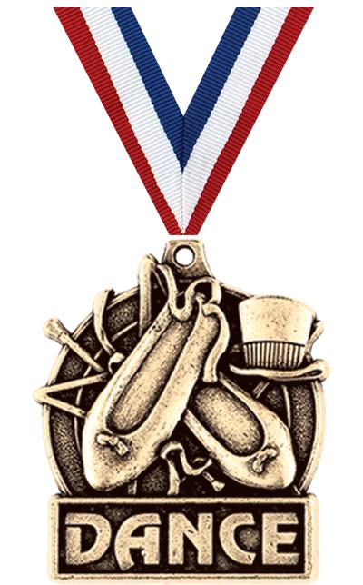 "1 3/4"" DANCE MEDAL GOLD"