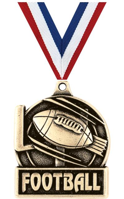 "1 3/4"" FOOTBALL MEDAL GOLD"