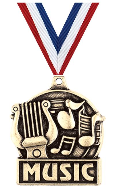 "1 3/4"" MUSIC MEDAL GOLD"