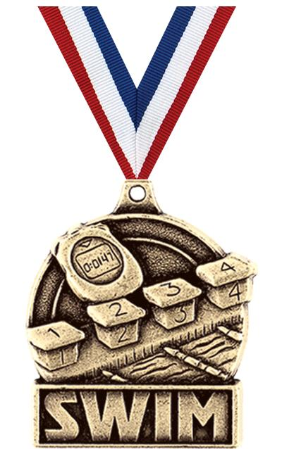 "1 3/4"" SWIM MEDAL GOLD"