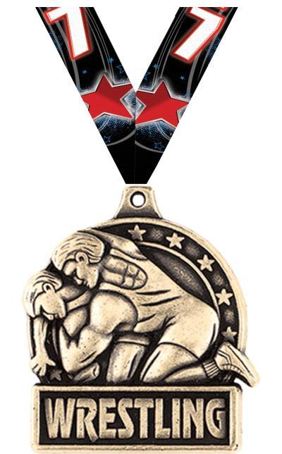 """1 3/4"""" Wrestling Medals"""