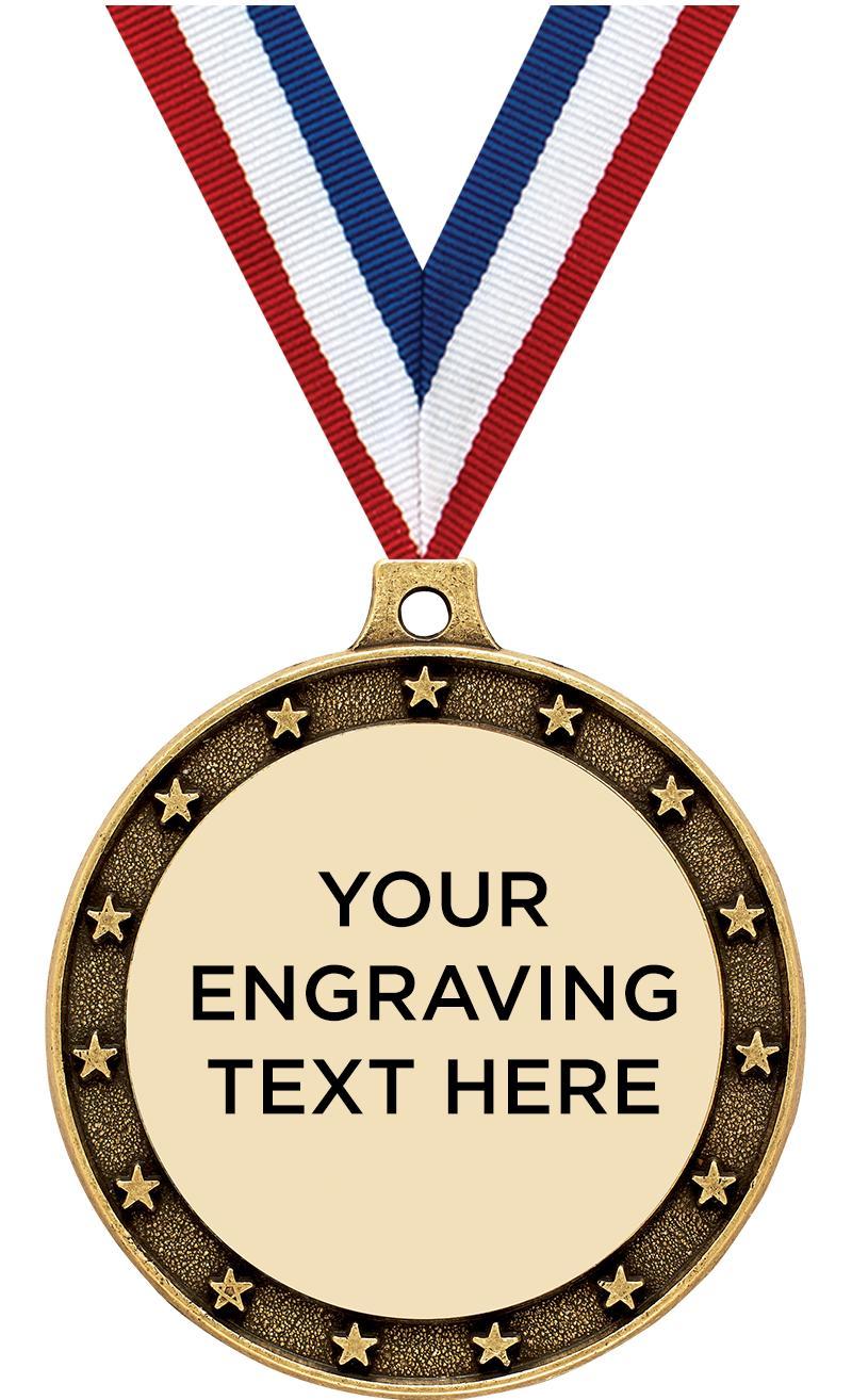 "2 1/2"" Universal Star Engraving Medal"