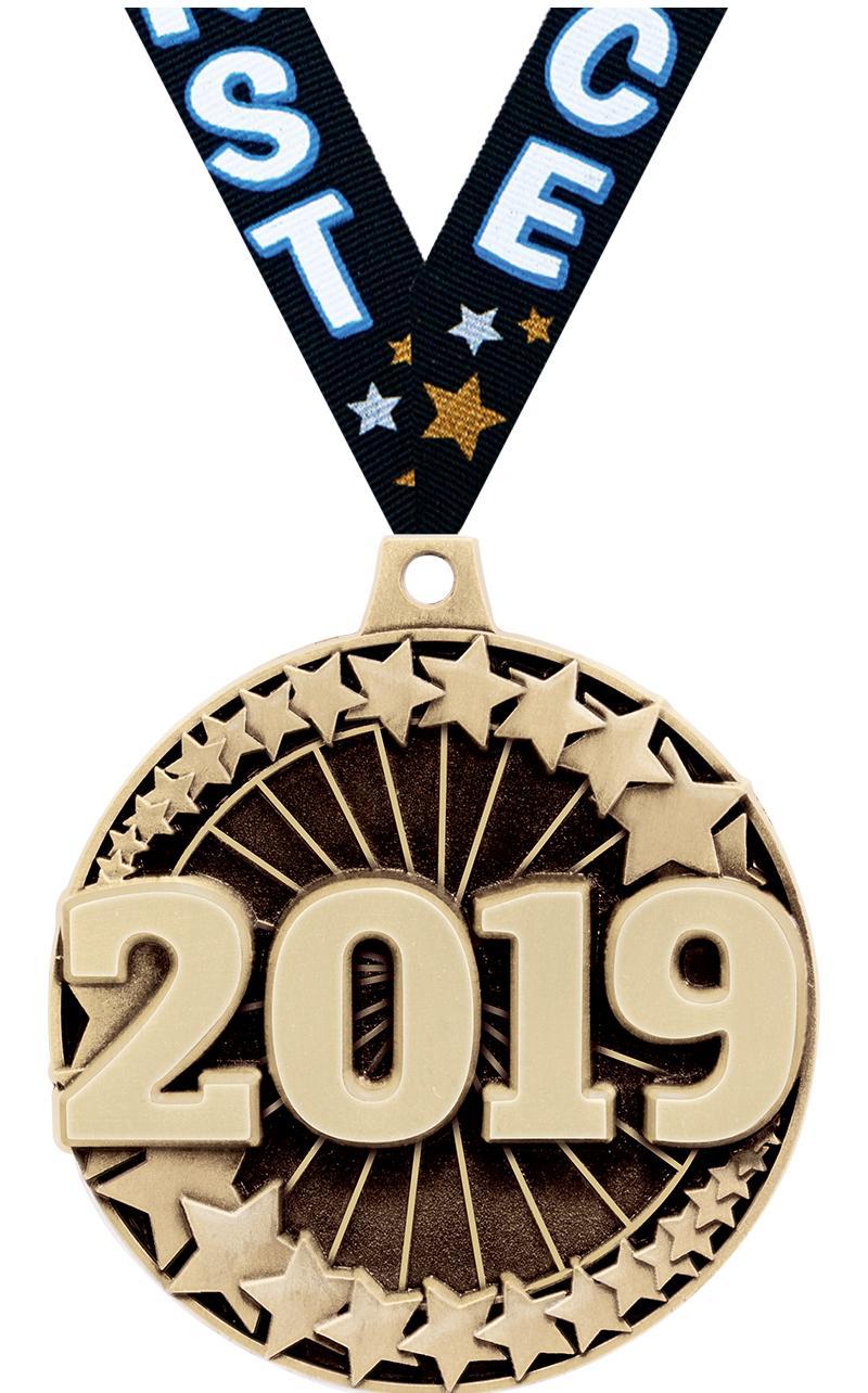 """2"""" 3D 2019 MEDAL GOLD"""