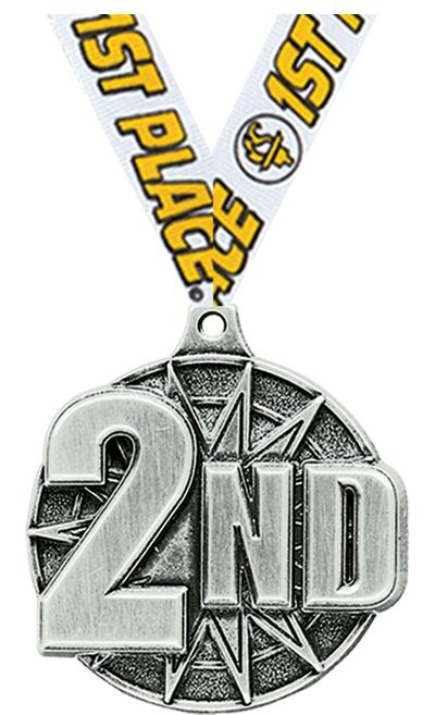 """2"""" 3D 2ND PLACE MEDAL SILVER"""