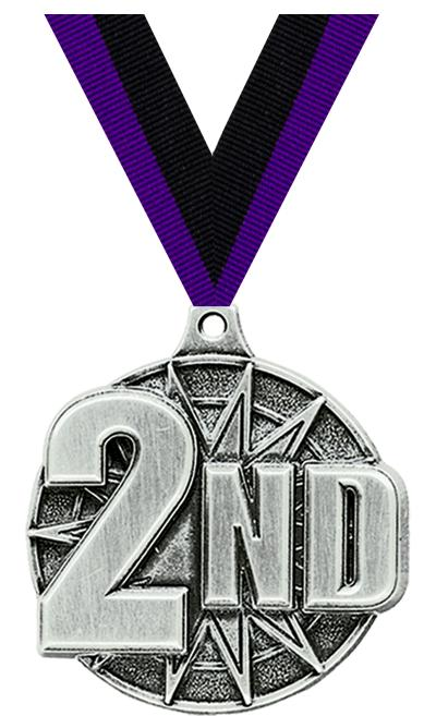 "2"" 3D 2ND PLACE MEDAL SILVER"