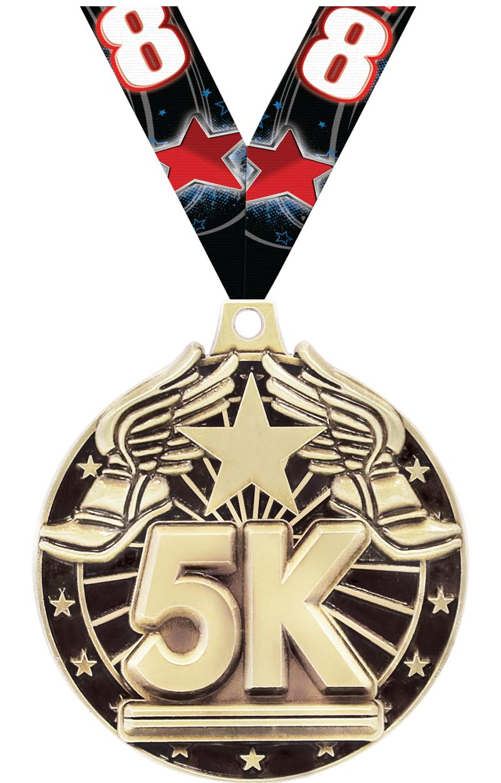 """2"""" 3D 5K MEDAL GOLD"""