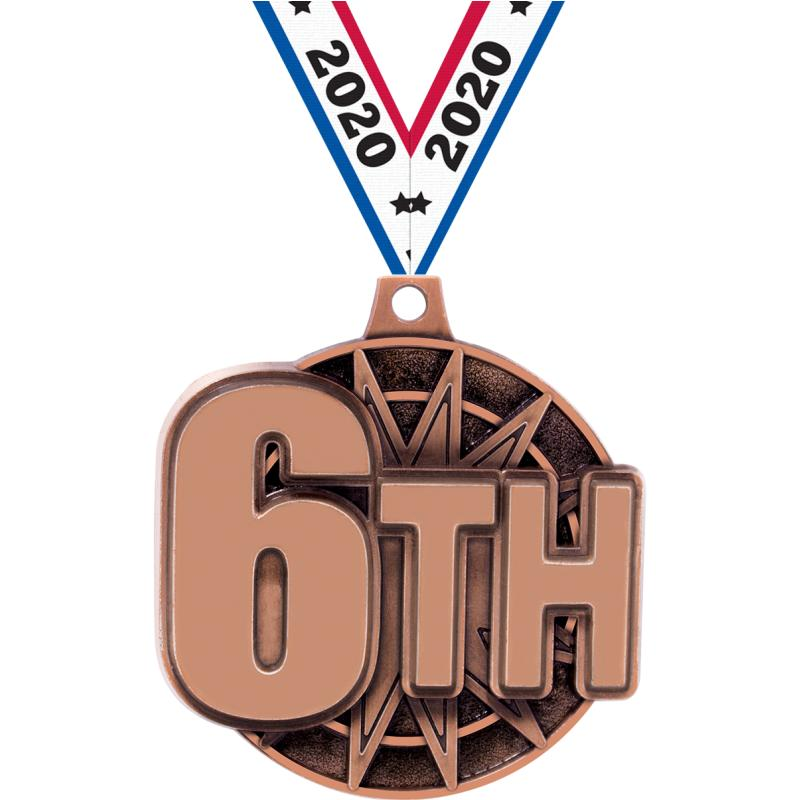 "2"" 3D 6TH PLACE MEDAL BRONZE"