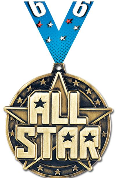 "2"" 3D ALL STAR - MEDAL GOLD"