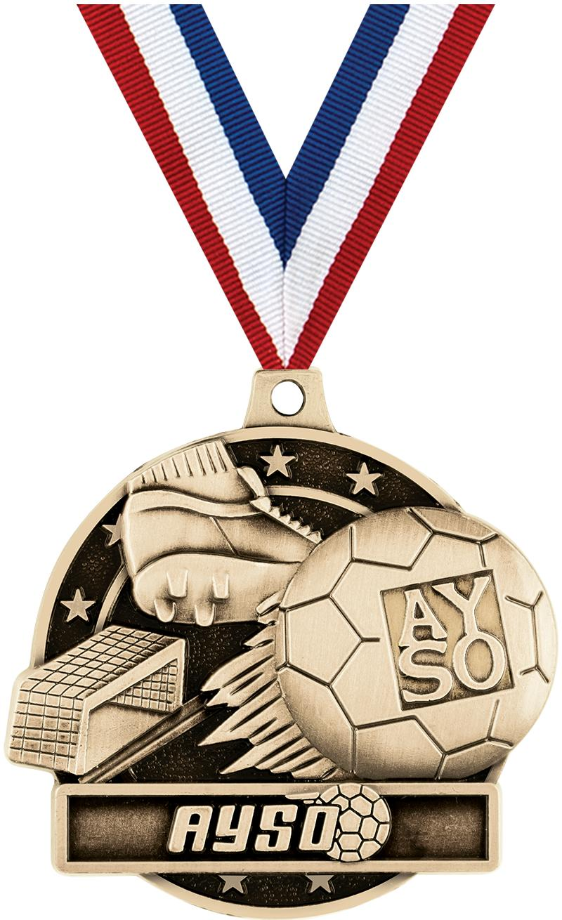 "2"" 3D AYSO MEDAL GOLD"