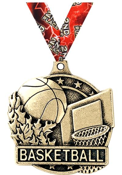 "2"" 3D BASKETBALL MEDAL GOLD"
