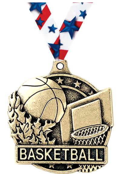 "2"" 3D BASKETBALL MEDAL GOLD"
