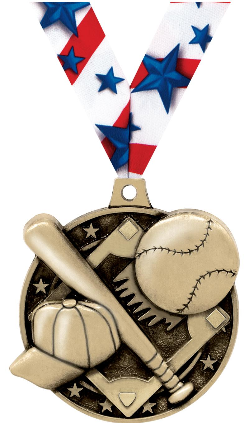 "2"" 3D BASEBALL MEDAL GOLD"