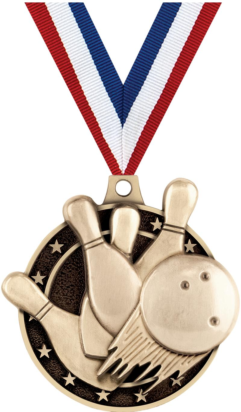 "2"" 3D BOWLING MEDAL GOLD"
