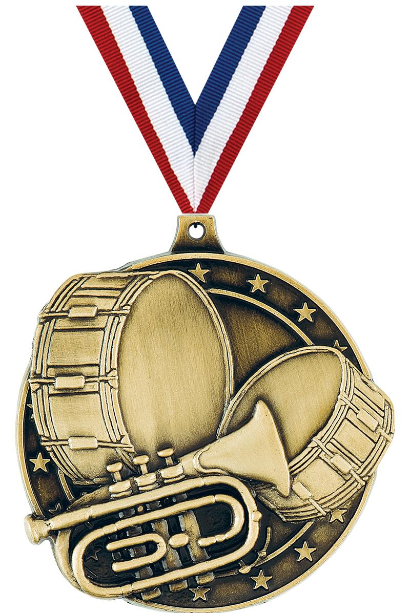 """2"""" 3D MARCHING BAND GOLD"""
