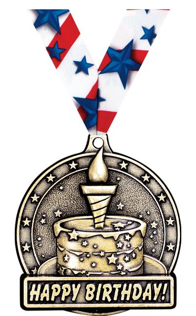 "2"" 3D HAPPY BIRTHDAY MEDAL GD"