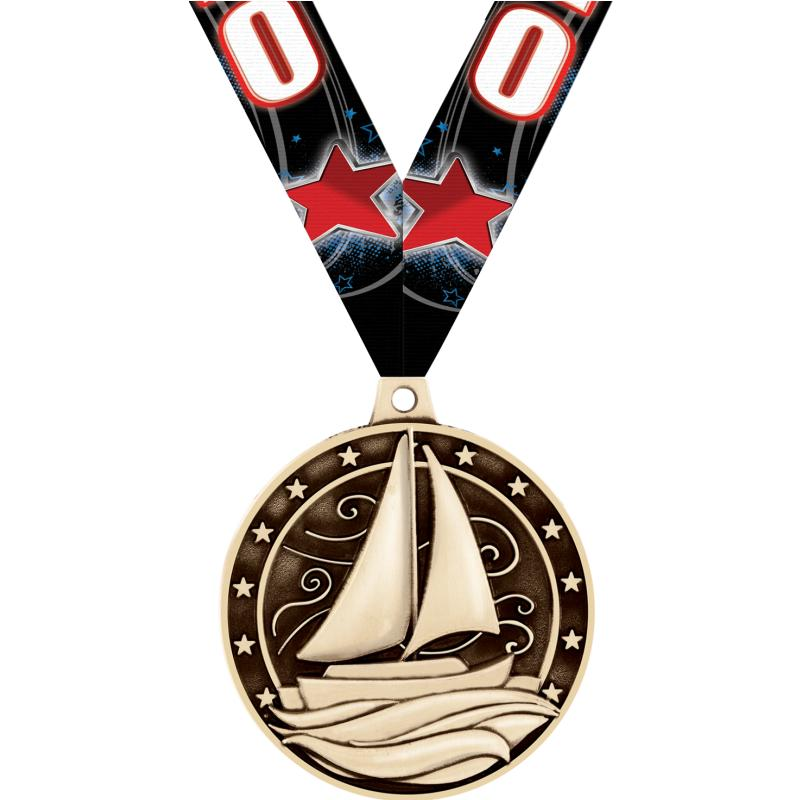 "2"" 3D SAILBOAT MEDAL GOLD"