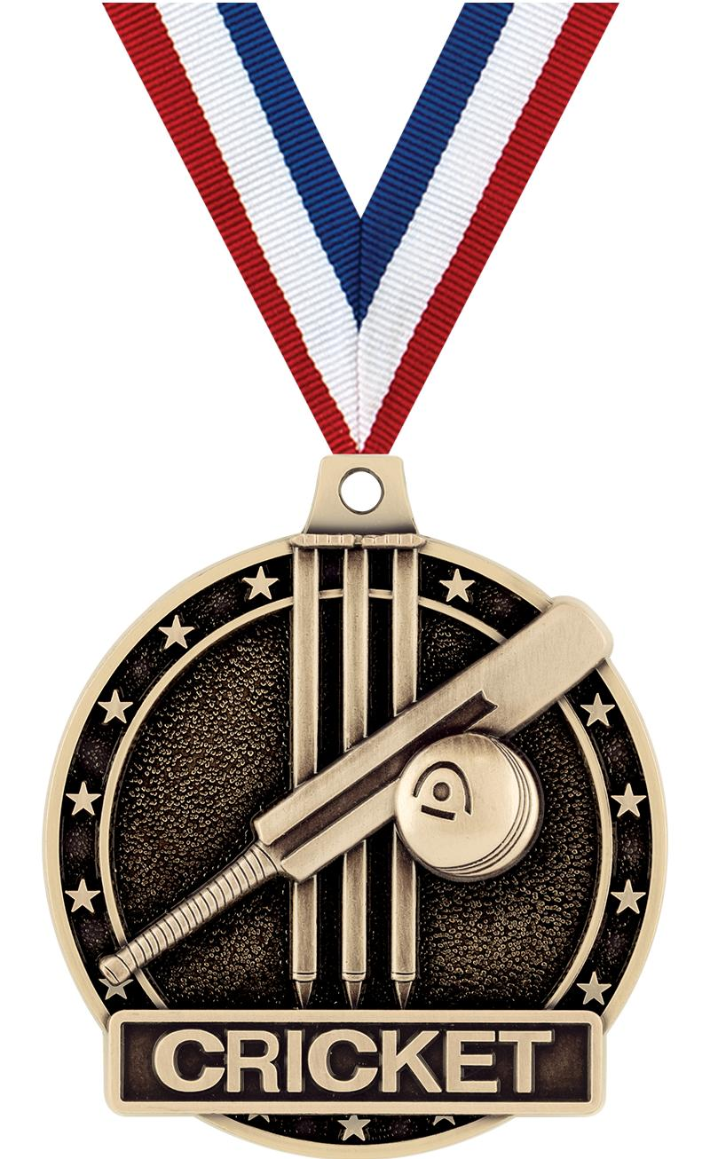 "2"" 3D CRICKET MEDAL-GOLD W/RIB"