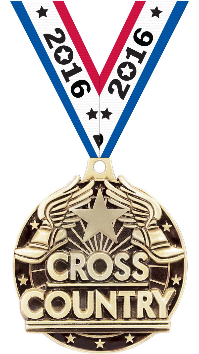 """2"""" 3D CROSS COUNTRY GOLD MEDAL"""