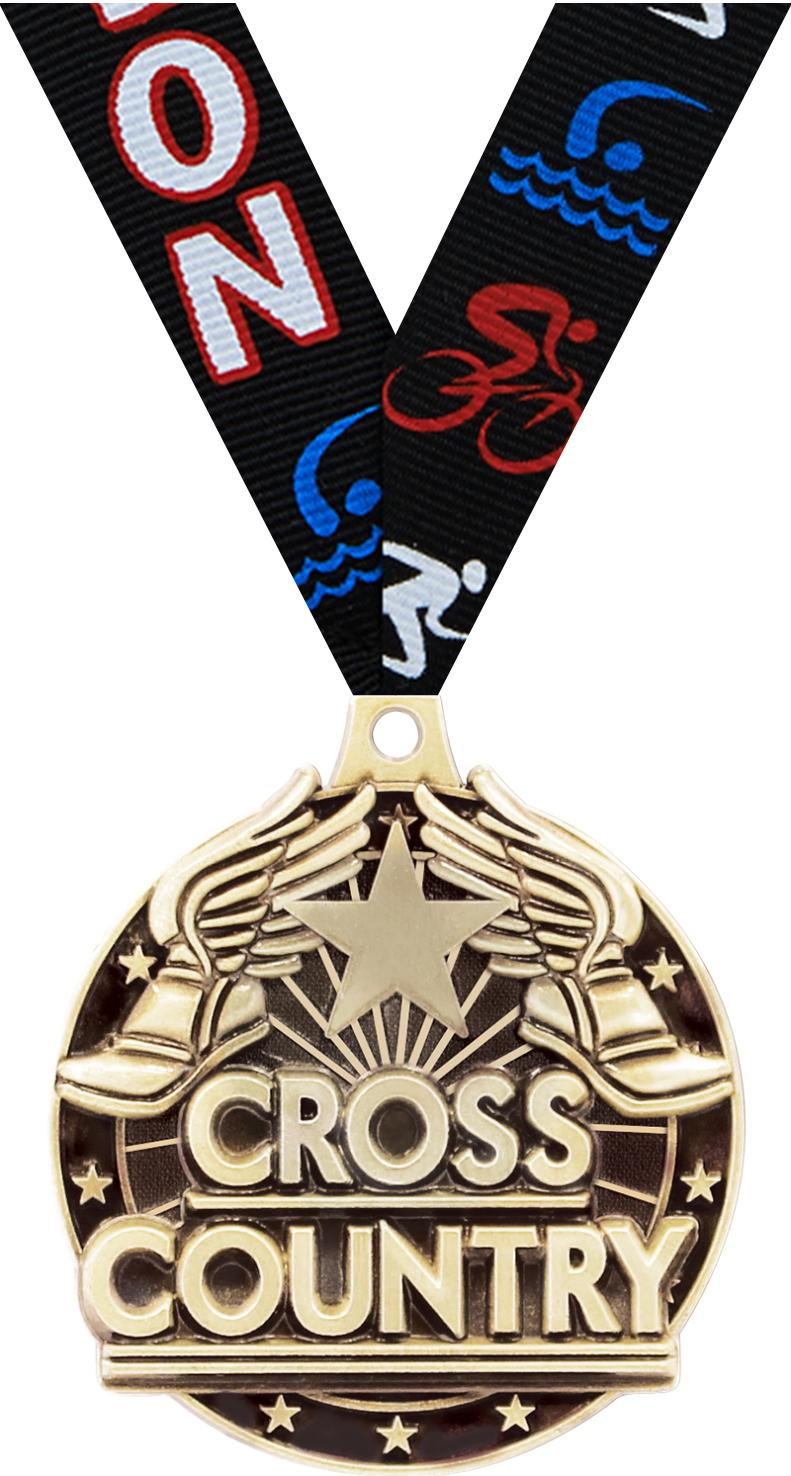 "2"" 3D CROSS COUNTRY GOLD MEDAL"