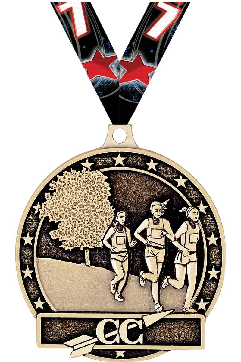 """2"""" Female Cross Country Medals"""