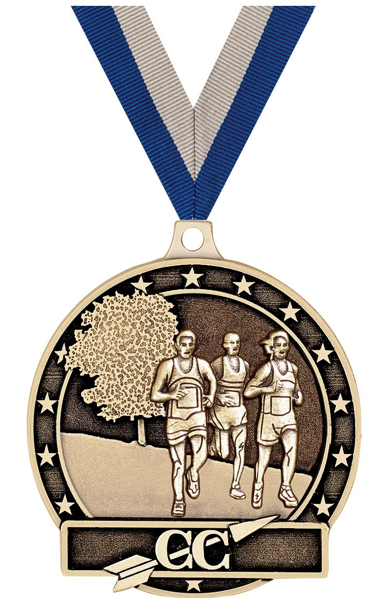 """2"""" 3D CROSS COUNTRY-GOLD MEDAL"""