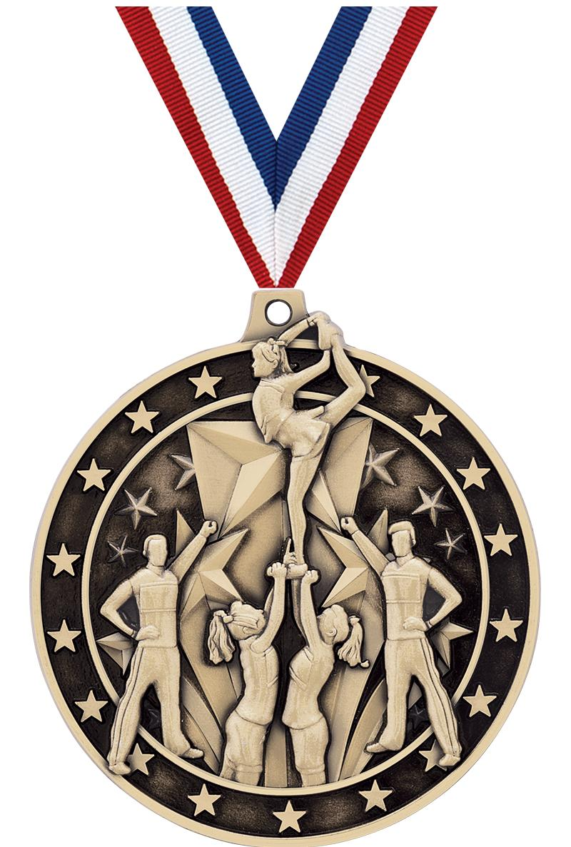 "2""3D ALL STAR CHEER MEDAL GLD"