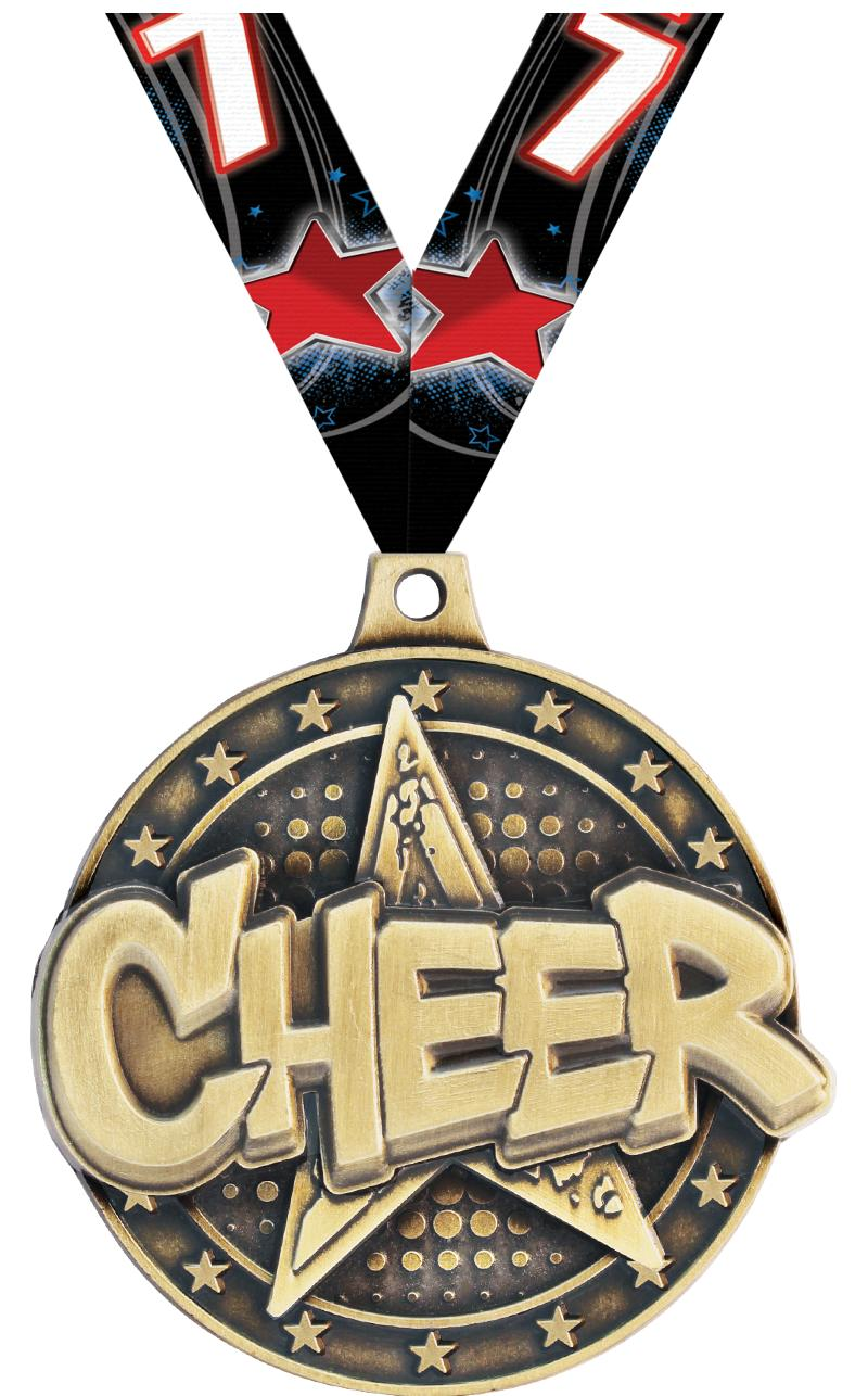 "2"" 3D CHEER STAR MEDAL GOLD"