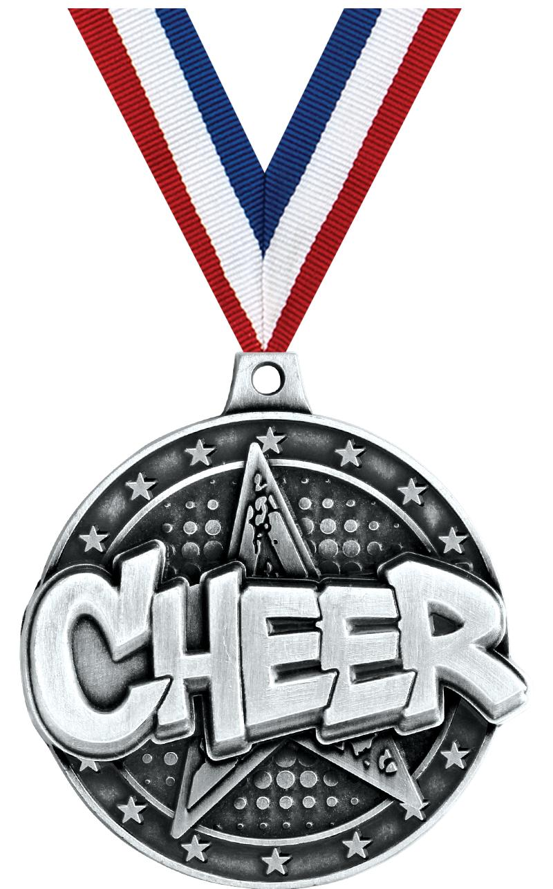 "2"" 3D CHEER STAR MEDAL SILVER"