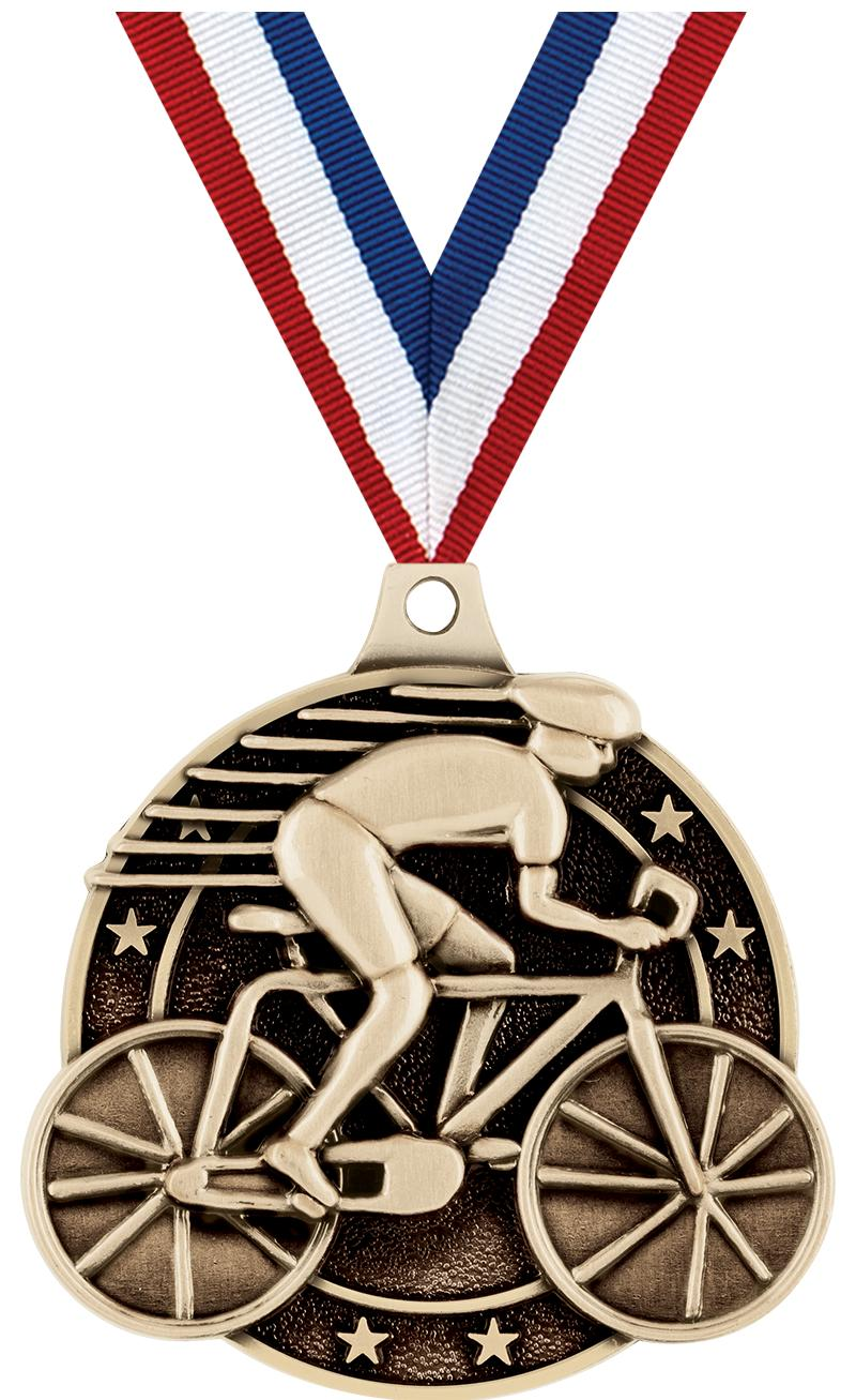 "2"" 3D CYCLING MEDAL GOLD"