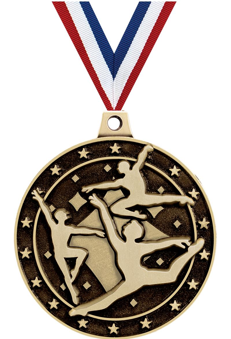 "2"" 3D MALE DANCE MEDAL GOLD"