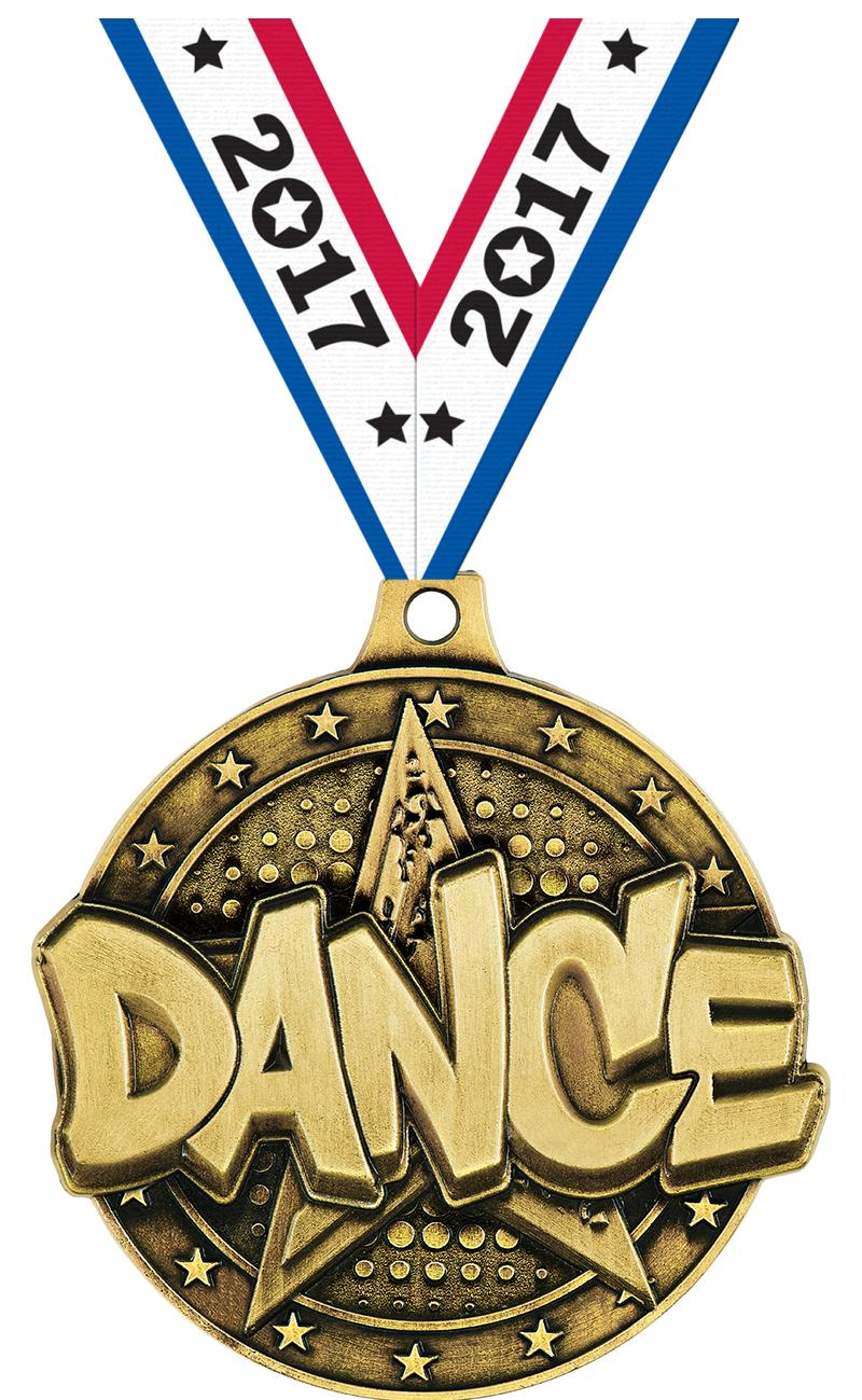 "2"" 3D DANCE STAR MEDAL GOLD"