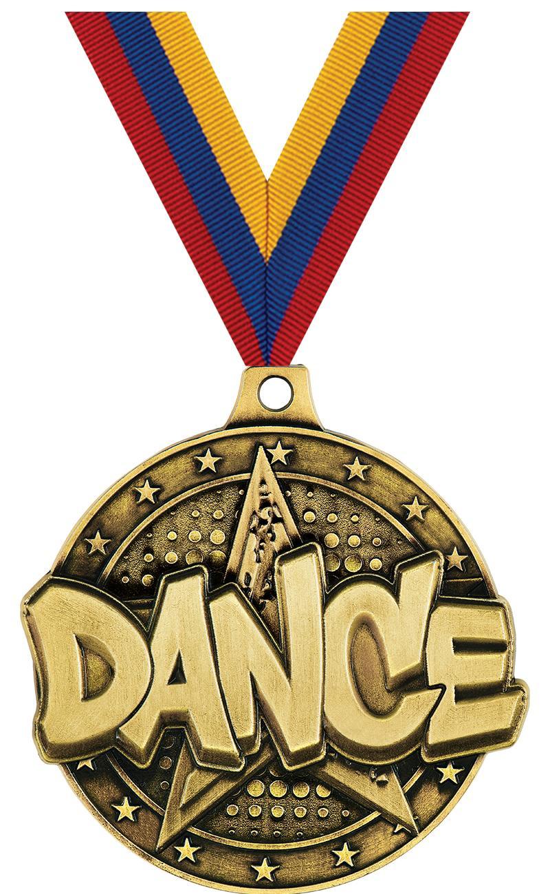 """2"""" 3D DANCE STAR MEDAL GOLD"""