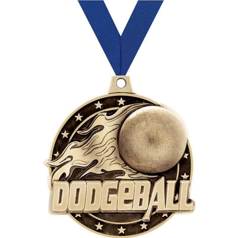 """2"""" 3D DODGEBALL MEDAL GOLD"""