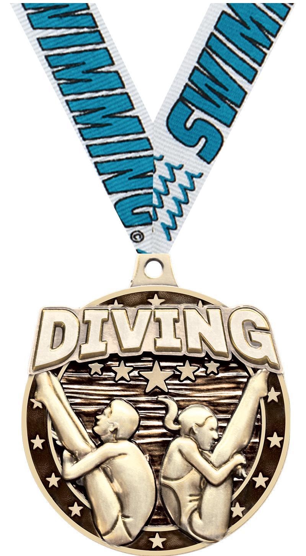 """2"""" Diving Male/Female Medal"""