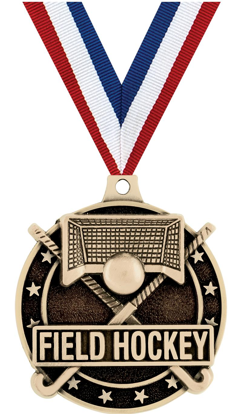 "2"" 3D FIELD HOCKEY MEDAL GOLD"