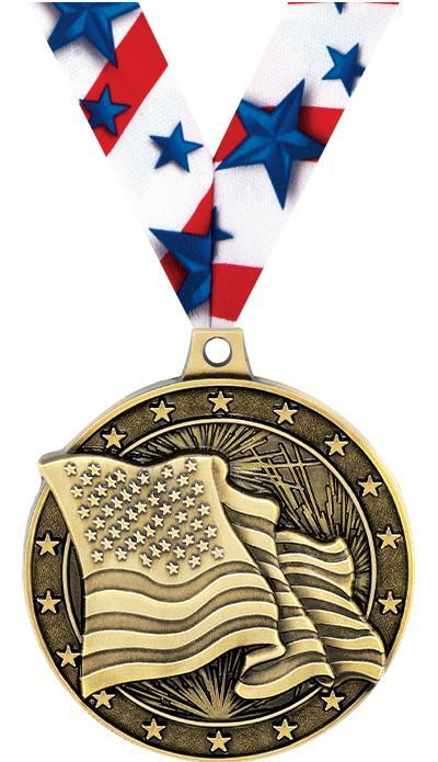 "2""3D AMERICAN FLAG MEDAL GOLD"