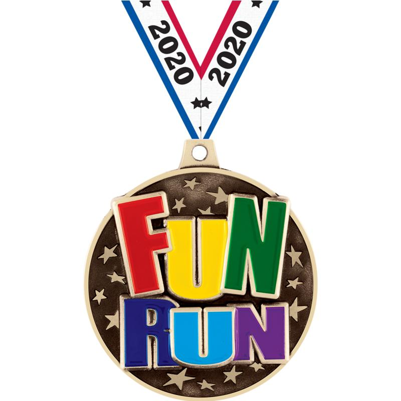 "2"" 3D FUN RUN MEDAL GOLD"