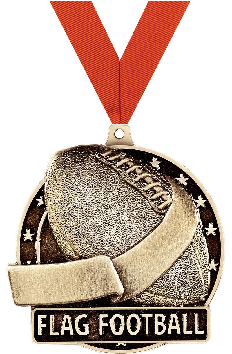"""2"""" 3D FLAG FOOTBALL-MEDAL GOLD"""