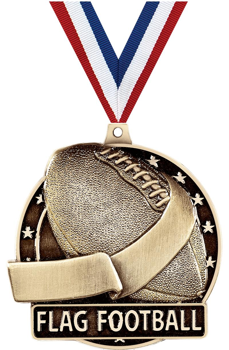 "2"" 3D FLAG FOOTBALL-MEDAL GOLD"