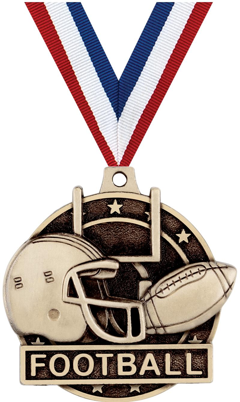 "2"" 3D FOOTBALL MEDAL GOLD"