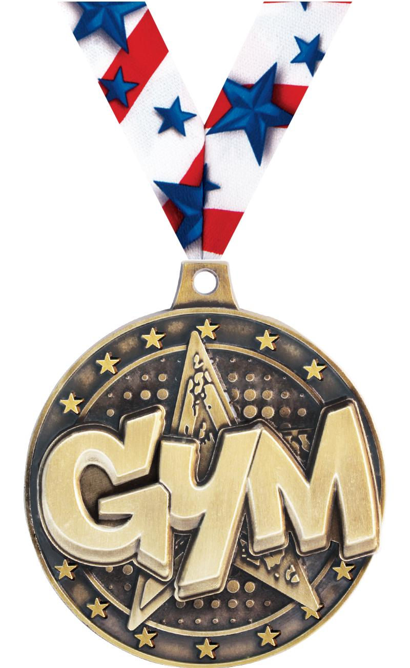 "2"" 3D GYM STAR MEDAL GOLD"