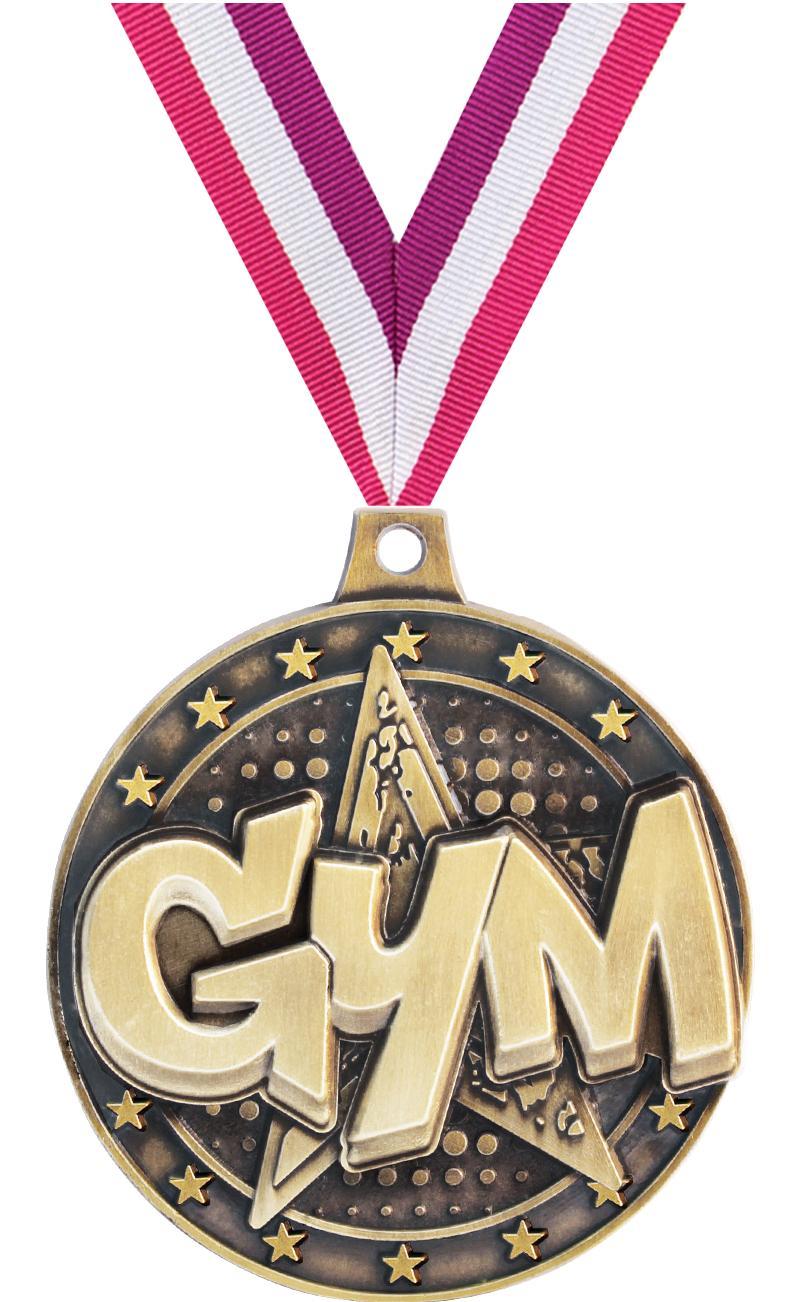"2"" 3D GYM STAR MEDAL GOLD"