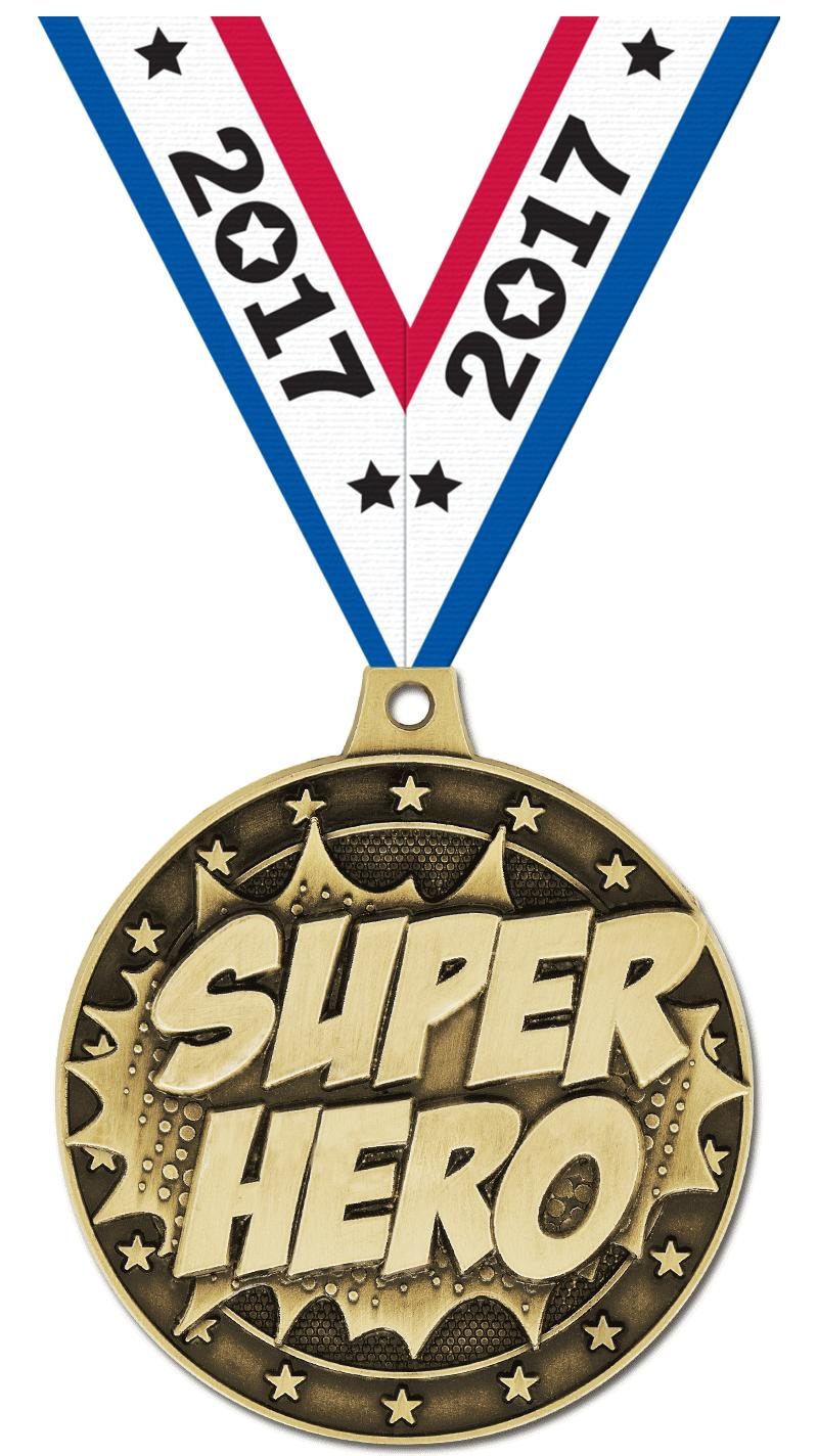 "2"" 3D SUPERHERO MEDAL GOLD"